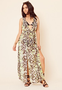 Neon Snake Print Maxi Dress Beach Cover Up
