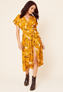 Safari Print Grown on Sleeve Midi Wrap Dress with Pockets