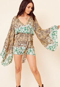 Green Border Print Kimono Sleeve Playsuit
