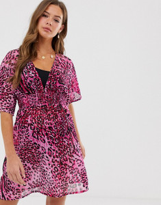 Pink Leopard Print Beach Dress
