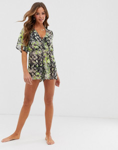 Neon Green Snake Print Beach Playsuit