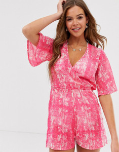 Pink Snake Print Beach Playsuit