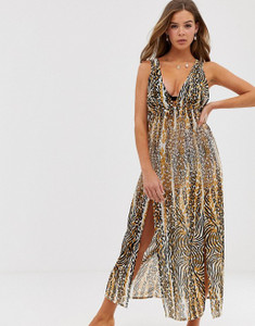 Leopard Print Maxi Dress Beach Cover Up