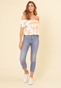White Fruit Print Cotton Shirred Bardot Top