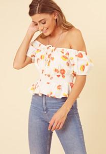 White Fruit Print Cotton Shirred Bardot Top