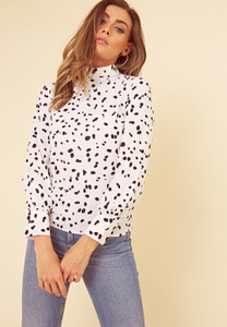 Black and White Splodge Print High Neck Top