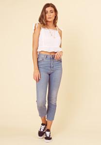 White Cotton Lace Trims Cami Top