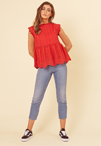 Red Cotton Broderie Anglais Smock Top
