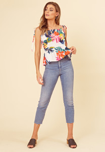 White Tropical Print Peplum Hem Tie Shoulder Cami Top