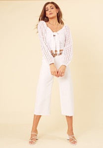 White Cotton Broderie Anglais Tie Front Crop Top