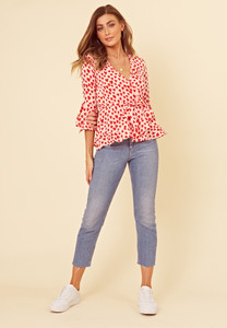Red Heart Print Flute Sleeve Wrap Blouse