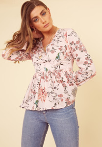 Pink Floral Button Detail Peplum Hem Tea Blouse