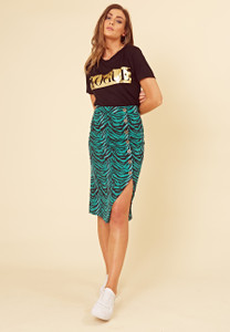Green Zebra Print Button Front Split Midi Skirt