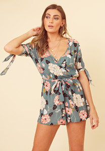Green Floral Cheesecloth Tie Sleeve Playsuit