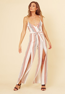Multi Stripe Strappy Wrap Wide Leg Jumpsuit