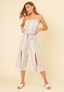 Pastel Stripe Strappy Cami Culotte Jumpsuit with Splits