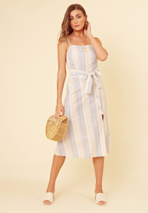 Pastel Stripe Button Detail Strappy Cami Midi Dress