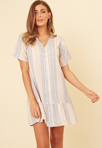 Pastel Stripe Button Down Frill Hem Smock Dress