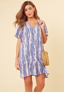 Blue Tie Dye Button Down Frill Hem Smock Dress