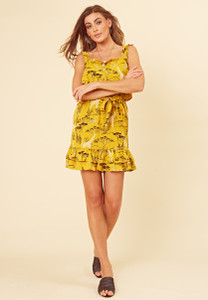 Mustard Safari Print Ruffle Detail Strappy Dress