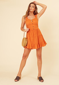 Rust Burn Out Cotton Tiered Skater Dress