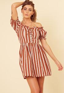 Brown Stripe Off the Shoulder Lace Up Detail Skater Dress
