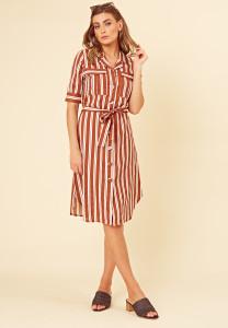 Brown Stripe Cotton Linen Look Utility Midi Dress