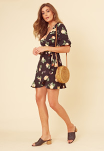 Black Fruit Print Wrap Frill Hem Mini Dress
