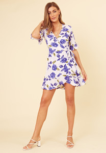 White Blue Floral Print Wrap Frill Hem Mini Dress