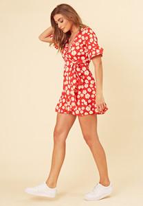 Red Daisy Floral Print Wrap Frill Hem Mini Dress