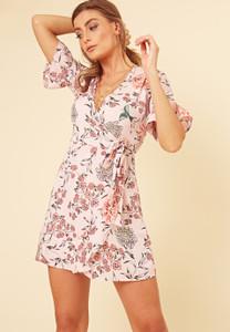 Pink Floral Print Wrap Frill Hem Mini Dress