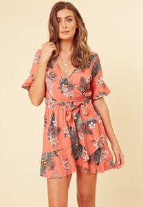 Coral Floral Wrap Frill Skirt Dress With Fluted Sleeve