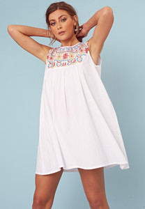 White Cotton Embroidered Bib Detail Smock Dress