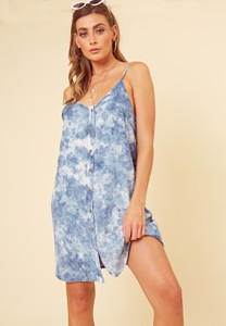 Blue Tie Dye Button Through Strappy Cami Dress