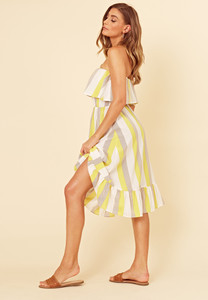 Yellow Multi Stripe Frill Hem Ruffle Bandeau Midi Dress