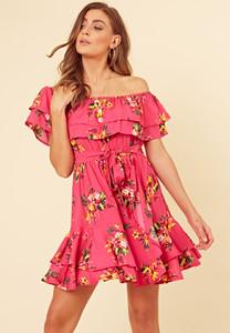 Pink Floral Bardot Frill Hem Skater Dress