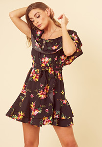 Black Floral Bardot Frill Hem Skater Dress