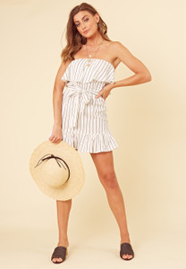 Black and White Linen Stripe Frill Bandeau Mini Dress