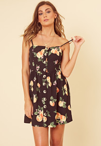 Black Apple Fruit Print Mock Horn Button Detail Strappy Cami Dress