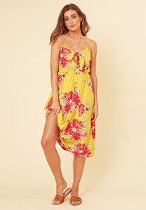 Yellow Tropical Print Tie Front Button Through Strappy Midi Dress