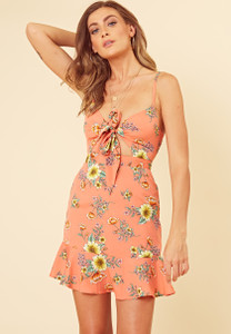 Coral Floral Cut Out Detail Strappy Cami Tie Front Skater Dress