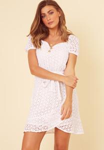White Broderie Anglais Sweetheart Neck Mini Dress