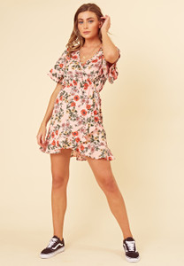 Pink Floral Tier Sleeve Ruffle Wrap Dress