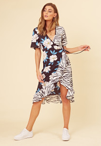 4c3e6c86249c Navy Mix and Match Zebra and Floral Print Wrap Frill Hem Midi Dress ...