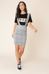 Grey Check Pinafore With Ruffle Straps