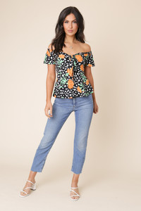 Black Floral and Spot Print Bardot Tie Front Blouse