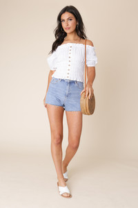 White Cotton Broderie Anglais Bardot Top