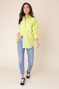 Lime Cotton Linen Look Button Down Oversized Shirt