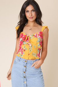 Mustard Floral Shirred Waist Tie Front Cami Top