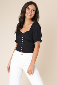 Black Cotton Puff Sleeve Button Front Schliffy Top